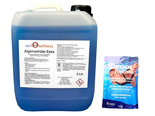 well2wellness Pool Algenverhüter + Algenvernichter Extra 'Blue' 5,0 l Plus 1 x 125g NoPhos