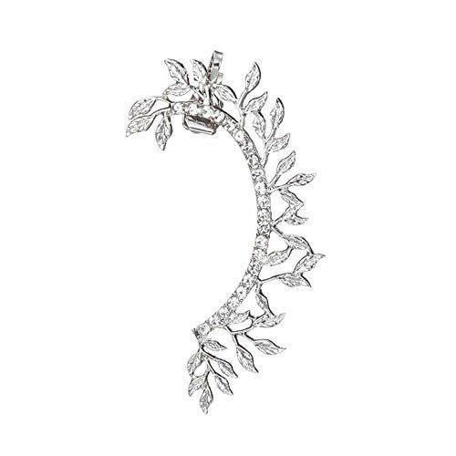 2 pendientes de moda para mujer, diseño de hoja de temperamento con diamantes, creativos, dominantes, exagerados, para oreja