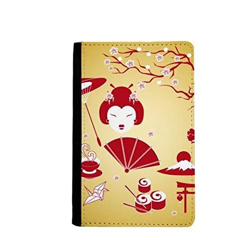 Rood Geel Wit Beker Sushi Japan Paspoort Houder Travel Portemonnee Hoes Kaarttas