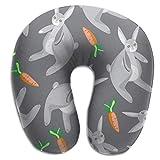 Almohada para el Cuello Conejo con Zanahoria Almohada de Viaje en Forma de U Funda Lavable con diseño ergonómico y Contorneado