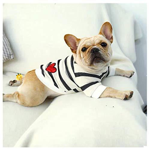 Smniao Haustier Hund Kleidung Bulldogge Schwarz Weiß Streifen Sweatshirt Welpen Kostüm Jacke für Kleine Hund Schlafanzug S bis XXL (XL, Schwarz)