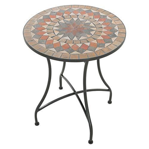 colourliving Mosaiktisch Kaffeetisch Balkontisch Gartentisch rund Metall ø 60 cm Balkon Tisch Mehrfarbig Beistelltisch Verschiedene Motive (Barcelona)