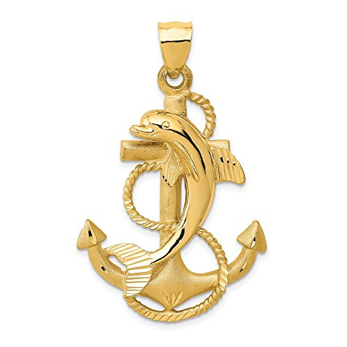 Black Bow Jewelry 14k Yellow Gold Large Anchor with Dolphin Pendant