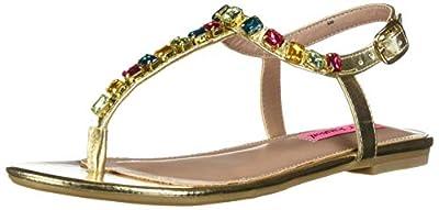 Betsey Johnson Women's ROMEE Flat Sandal, Gold, 7.5 M US