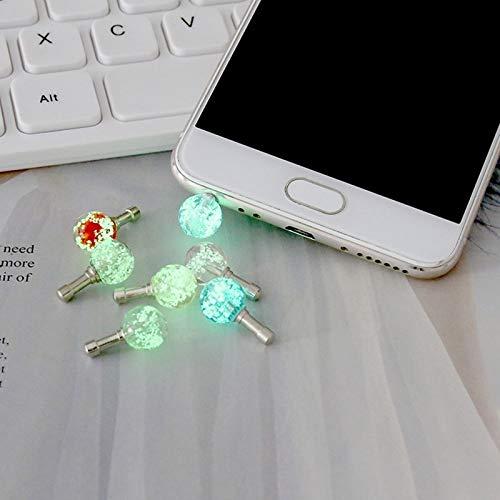 weichuang Tapones antipolvo para teléfonos móviles, 3,5 mm, para auriculares, luz nocturna, luz luminosa para auriculares, a prueba de polvo para tabletas móviles (color: morado)