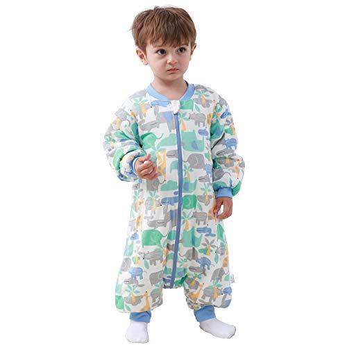 Baby Schlafsack mit Beinen Warm Gefüttert Winter Langarm Winterschlafsack mit Fuß 2.5 Tog (Blauer_elefant, S/Höhe 77cm-87cm)