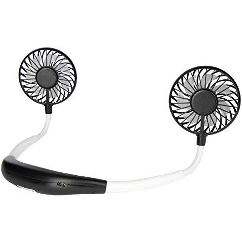 ONVAYA® Nackenventilator schwarz und weiß | Tragbarer Mini Ventilator zum Umhängen für unterwegs | USB Ventilator
