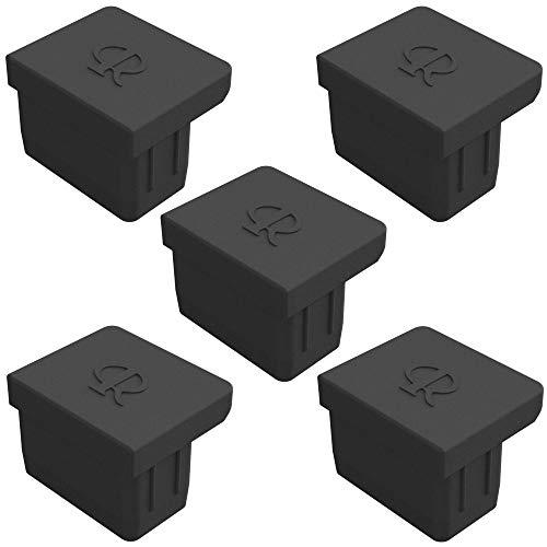 Cyclingcolors - Tapón para tapón de polvo RJ45 (puerto de enchufe portátil, silicona, 5 unidades), color negro