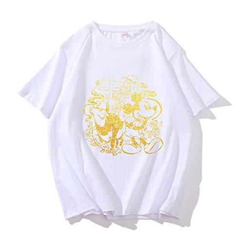 Año de la Buey Camisetas,Weiii Casual Suelto Camisetas para Hombres Y Mujeres,Camisetas con Zodíaco Signos,Verano Festivo Corto Manga Camisetas,Pareja Camisetas Suelto Y Cómodo/E/XXL