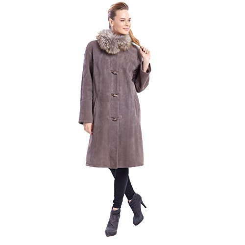Womens Shearling Leather Jacket Classic Fur Collar Coat Fashion Long Style Cashmere Horn Buckle Coat (Light Purple, XXL)