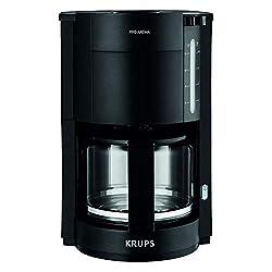 Krups F30908 ProAroma Filterkaffeemaschine mit Glaskanne | 1,25L Füllmenge | 10-15 Tassen | 1050W | Schwarz