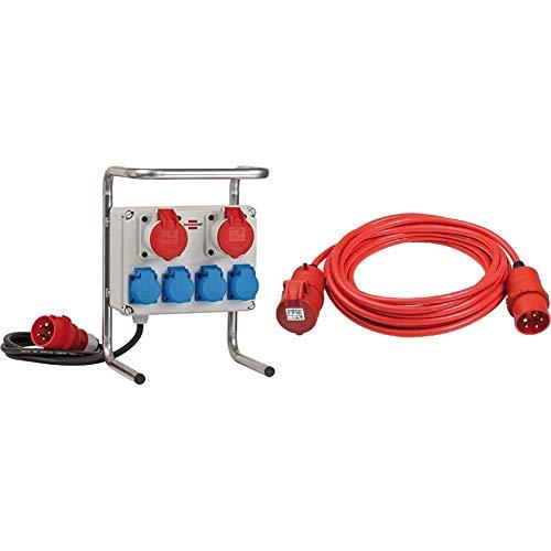Kompakter Kleinstromverteiler BKV 2/4 G IP44 / Baustromverteiler mit Stahlrohrgestell (2m Kabel) & BREMAXX CEE Verlängerungskabel IP44 (10m Kabel, AT-N07V3V3-F 5G1,5, mit CEE Stecker und Kupplung) rot
