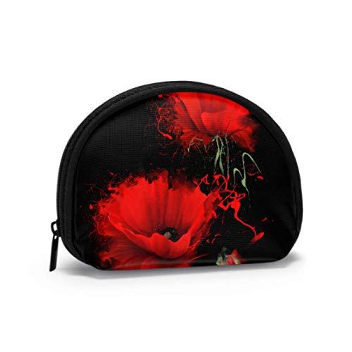 Porte-Monnaie coloré Couleur Rouge Sang Fleur Coquelicot Porte-Monnaie Hommes Homme Porte-Monnaie avec Fermeture à glissière Mini Sacs de Maquillage cosmétique pour Femmes Filles Cadeaux et décoratio