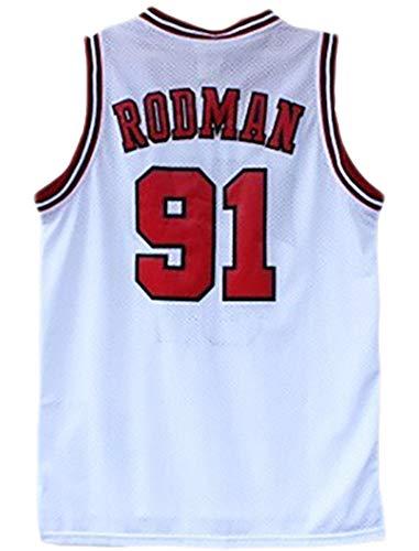 Maglia da Basket da Uomo 91# Maglia Dennis Rodman, N. 91 Chicago Bulls, Lassic White Senza Maniche, Collezione Unisex-Fan Versione aggiornata-White-XXL