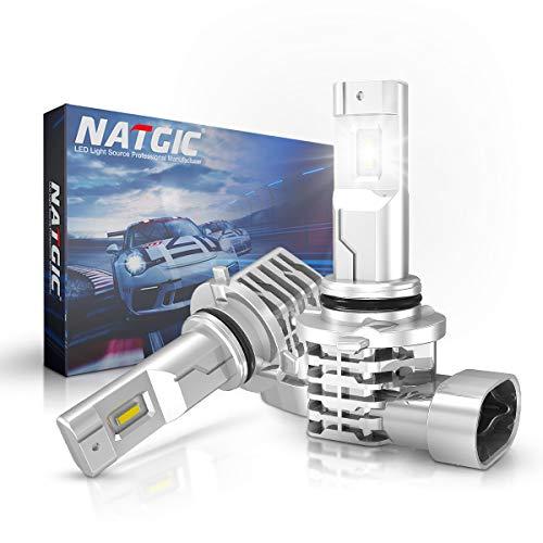 NATGIC 9006 HB4 LED Bombillas Antiniebla 55W Súper Brillante C-REE Chips para Luz de Conducción Diurna Lámpara de Conducción 3200LM y 6500K Xenón Blanco DC 9V - 32V - 2 Años de Garantía (Paquete de 2)