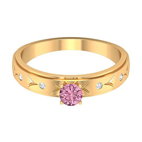 Anillo de 4 mm de color rosa turmalina, anillo de diamante HI-SI, anillo grabado en oro, anillo apilable, anillo solitario, oro de 14 quilates, Metal, Diamond Tourmaline,