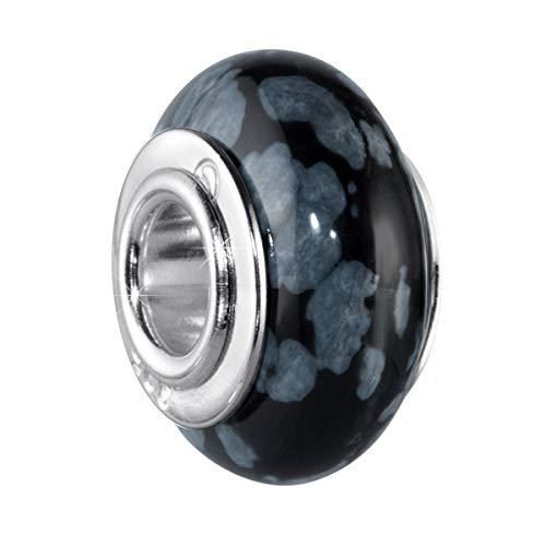 MATERIA Naturstein Beads Obsidian/Schnee Obsidian schwarz grau mit breiter 925 Silber Hülse - deutsche Wertarbeit #334