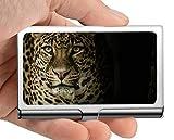 Estuche profesional para tarjetas de visita, ojos de leopardo, gato asustadizo Estuche para tarjetas de visita para hombres