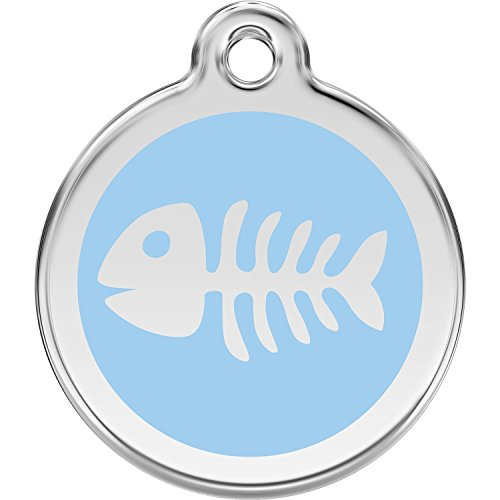 Red Dingo Personalized Fish Bone Pet ID Dog Tag (Small Light Blue)