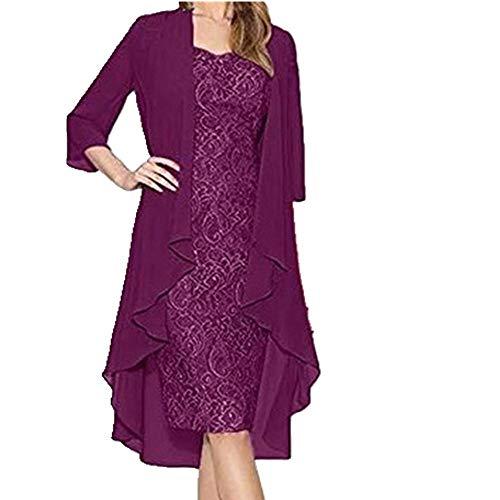 Las mujeres visten más el tamaño dos piezas encantador color sólido madre encaje vestido atractivo traje