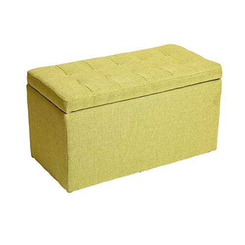 YLCJ voetensteun, comfortabel, bewaarkruk, hoogwaardig, met voetensteun en deksels van linnen. Zitting met voetensteun, gewatteerd, met kussen voor hal | woonkamer 60 x 30 cm Groen