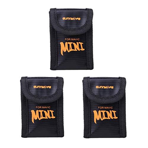 Penivo Explosionsgeschützt Sichere Tasche LiPo Batterie Case für DJI Mavic Mini Drohne Akku Storage Bag Schützend Charging Zubehör (3 Stück Set Klein)