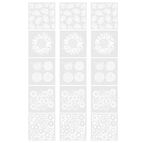 Artibetter Plantillas de Dibujo de Plantas de Flores Plantillas de Escala Conjuntos de Plantillas de Papel para Álbum Diario Álbumes de Papel DIY Tarjetas Y Proyectos de Artesanía