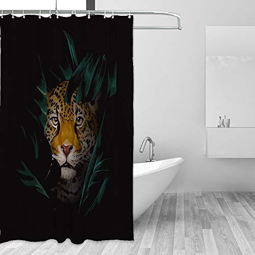 HaoXiang Wasserdichter Duschvorhang Set Leopard versteckt im tropischen Dschungel Badezimmer Stoff Vorhänge, Wasserdichtes Polyestergewebe, Muster 1, 72x72 inch