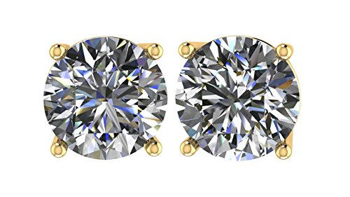 NANA 14k Gold Post & Sterling Silver 4 Prong CZ Stud Earrings -Yellow Gold Plated-6.5mm-2.00cttw