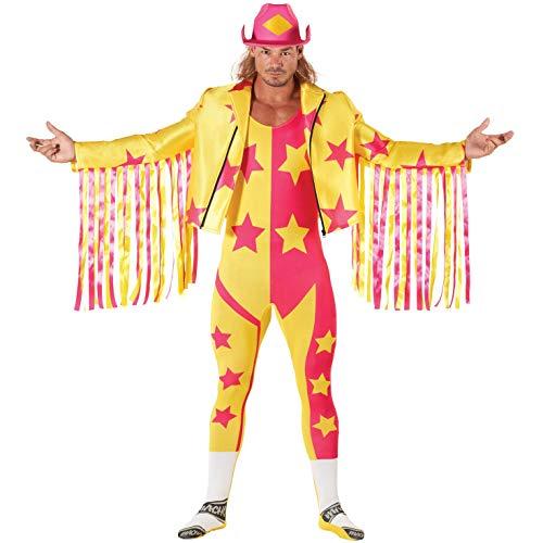 Morph Disfraz Oficial de Halloween Adultos de Macho Man Randy Savage de la WWE, Color Amarillo, Talla XL
