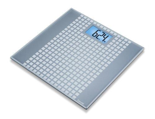 Beurer GS206 - Báscula de baño de vidrio, diseño de cuadros, color plateado (756.63)