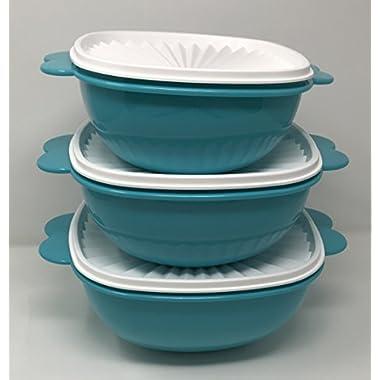 Tupperware Servalier Bowls Nesting 3 Bowl Set 13 10 6.5 Cups Aqua Blue
