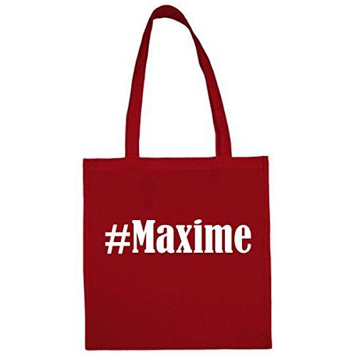Tasche #Maxime Größe 38x42 Farbe Rot Druck Weiss