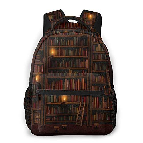jenny-shop Schulrucksack Bibliothek Bücherregal Klassischer Leichter Rucksack