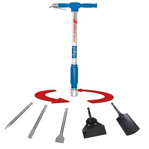 scheppach Druckluft-Spaten Aero²Spade für den Kompressor (Drucklufthammer 27 Joule, 6,3 bar, Kombi-Gerät mit Schnellwechselsystem, Druckluftmeissel inkl. 5 Werkzeugaufsätze Set)