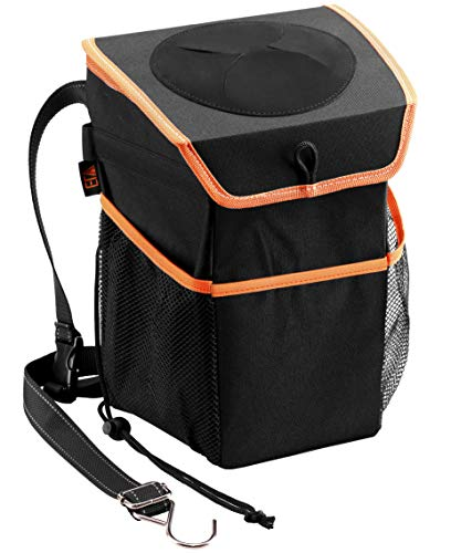 ELV Car Trash Can, Auto Leakproof Garbage Bin Container with Storage Pockets and Lid for Door, Console, Headrest Back - Trash Bag for Car, Truck, SUV, Outdoor Picnic