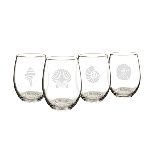 Cathy's Concepts SEA-1110 Seashell Stemless Wine Glasses – 4 Unique Designs, Holds Up to 21 oz., 4-Glass Set