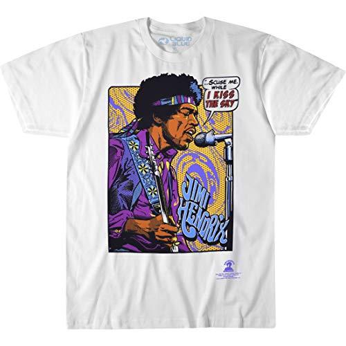 Liquid Blue unisex adult Jimi Hendrix Pop Art 'Scuse Me While Kiss the Sky T-shirt T Shirt, White, X-Large US