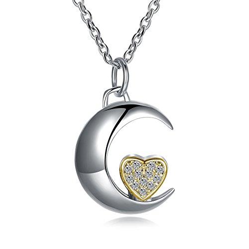 Ecloud Shop Chapado en Plata Moda Layies Collar Luna con pequeño corazón Chapado en Oro Encantador Collar de joyería de Las Mujeres
