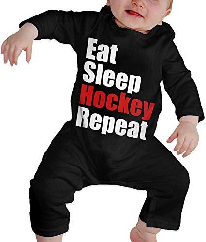 WlQshop Body Bébé Garçon Fille, Eat Sleep Hockey Repeat Baby Girls Long Sleeve Gentleman Bodysuit