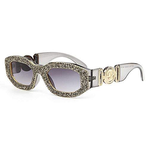 nobrand Kleine Sonnenbrille mit Kastenkruste Europäische und amerikanische Punktdiamant glänzende Kies Medusa Spiegelbeine Damen Sonnenbrille