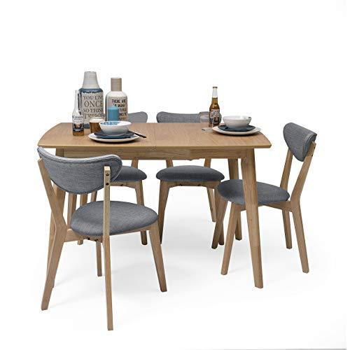 Homely - Conjunto de Comedor de diseño nórdico MELAKA Mesa Extensible de 120/160x80 cm Roble y 4 sillas tapizadas - Azul