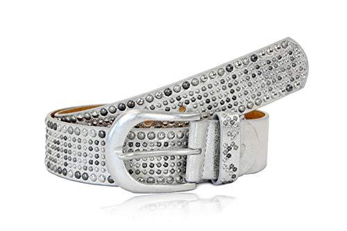 irisaa Damen Gürtel Breiter Nietengürtel im Vintage-Look, Jeansgürtel, Damen Taillengürtel 2020:Silber, Normale Gürtel Größe 80-105:85 CM