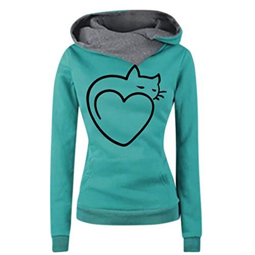VECDY Damen Pullover,Räumungsverkauf Herbst Frauen Langarm Hoodie Sweatshirt Pullover mit Kapuze Baumwollmantel Pullover Lässige hohe Kragen warmen