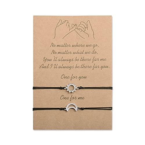 Cheerslife 2 piezas sol y luna pulsera joyería cuerda cordón ajustable amuleto de la suerte joyería trenzada hecha a mano para mejor amigo regalo para pareja madre hija
