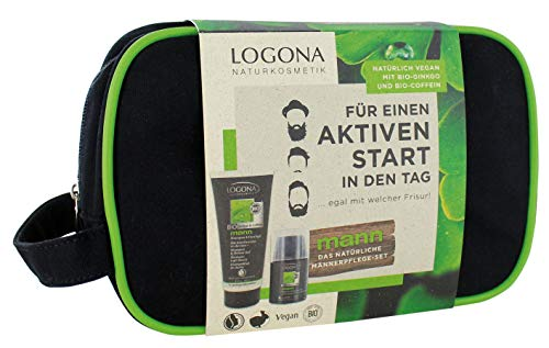 LOGONA Naturkosmetik Geschenkset Mann Shampoo & Duschgel (200ml) und Glättende Hydrocreme Q10 (50ml), Vegan