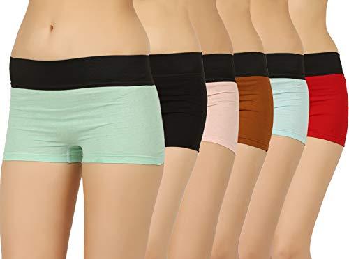VAISHMA Women's Plain/Solid Boy Shorts (Pack of 6) (VA-6C-DBoyshorts-204-ML_Multicolor_XXL)