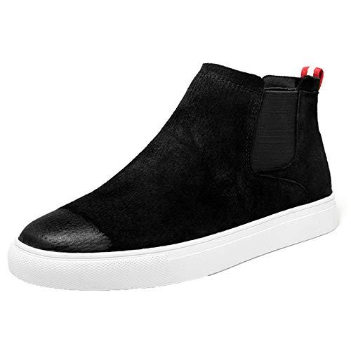Zapatos Chelsea para Hombre, Cuero de Ante Negro, Felpa cálida, Otoño Invierno, Zapatos Casuales, Botines al Aire Libre con Punta Redonda y Punta Alta sin Cordones