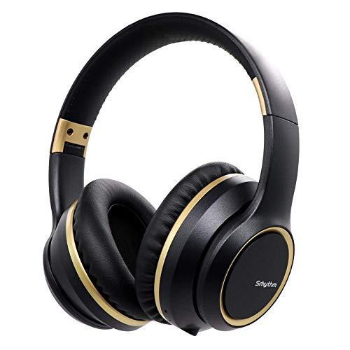 Auriculares con Cancelación de Ruido Inalámbrico Bluetooth 5.0, Srhythm 2020 Version NC15 Over-Ear Plegable con Micrófonos para Clase en Línea/Oficina en el hogar/TV/PC/Teléfono (Black-1)