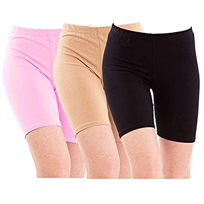 Pixie Biowashed 220 GSM Cotton Lycra Cycling Shorts for Girls/Women/Ladies Combo (Pack of 3) - Free Size